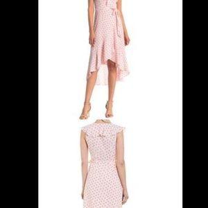 Hi-low pink wrap ruffle dot dress